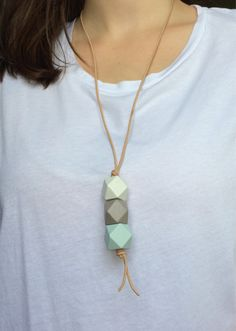 Geometric faceted wooden bead necklace/ drop necklace/ by ModFresh, $18.00 www.ModFresh.etsy.com