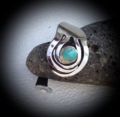 Stainless steel fork bangled bracelet with a turquoise stone by SuzoosPlace on Etsy