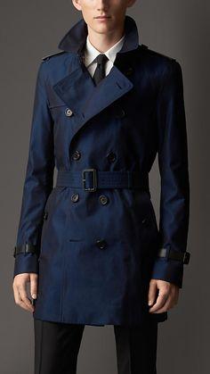Burberry London Leather Detail Cotton Gabardine Trench Coat