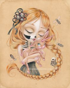 Enchanted Kiss Of The Undead Beauty LIMITED EDITION print signed numbered Simona Candini Art lowbrow pop surreal fantasy skull unicorn on Etsy, $30.00
