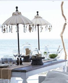 Outdoor furniture by the beach house