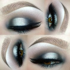 dramatic silver + black halo eye @sleepologist #makeup w/ winged liner / eyeliner