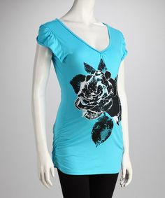 Take a look at this Oh! Mamma Turquoise Rose Tie-Back Maternity Top by Oh! Mamma on #zulily today!