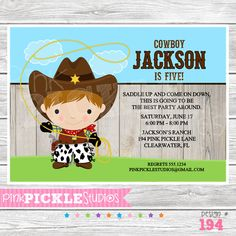 Cowboy 4 Personalized Party Invitation-