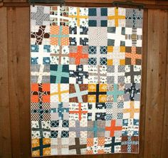 Happy Camper Wonky Cross Quilt by QuiltsByEmily