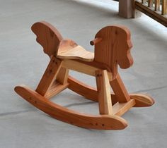 Redwood Rocking Horse Handcrafted and by WoodenGiraffeToys on Etsy, $150.00