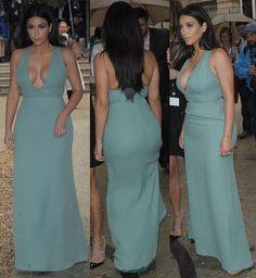 88e82f7e89 Kim Kardashian Sexy Deep V-Neck Floor Length Evening Dresses