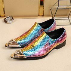 Gold Metal Pointed Toe Flats Loafers Rain Bow Color Men Formal Business  Shoes Slip On Men dd64a9dde17c