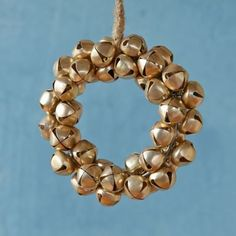 Golden Bells Wreath Ornament. I could make this with all the little bells from Grandma.