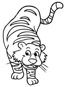 cartoon tiger coloring pages - cartoon tiger drawing cute tiger cub in cartoon coloring