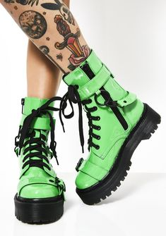 Free, fast shipping on Current Mood Toxic Slime Combat Boots at Dolls Kill, an online boutique for punk & rock fashion. Shop Current Mood clothing, lace up leggings, & shoes here. Source by ShaggyDabbydoo Shoes Shoes Boots Combat, Shoe Boots, Fashion Combat Boots, Cute Shoes Boots, Buckle Boots, Green Boots, Black Boots, Current Mood Clothing, Lace Up Leggings