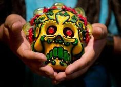 "Sugar skull by Rob-O as seen in the Museum's exhibit ""Day of the Dead: Art of Dia de Los Muertos"" and featured in The Sacramento Bee. Photo by Hector Amezcua / hamezcua@sacbee.com. Read story at http://www.sacbee.com/2013/09/24/5763919/cathie-anderson-flywheel-aims.html#storylink=cpy"
