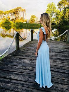 Charming Sheath V Neck Backless Ruffled Light Blue Long Prom Dresses, Elegant Evening Dresses Satin Dresses, Elegant Dresses, Formal Dresses, Prom Dresses Under 100, Evening Dresses, Summer Dresses, Light Blue Dresses, Rhinestone Dress, Chic Dress