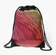 Geometric Path Magenta-Gold Drawstring Bags by Terrella.  An abstract image resembling a tiled or paved pathway with sweeping walls on each side.  The colors change from magenta to gold with light and dark areas. • Also buy this artwork on bags, apparel, phone cases, and more.