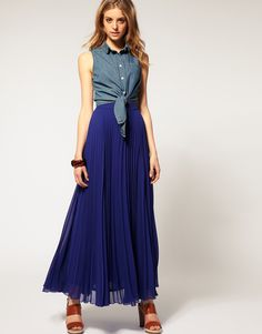 Asos Collection Asos Pleat Maxi Skirt in Blue - Lyst