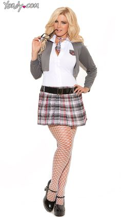 Plus Size Queen Of Detention Costume, Plus Sized Private Schoolgirl Uniform