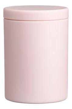 Matte plastic jar with a lid. Diameter 2 in. height approx 3 in. H&m Deco, Matte Pink, H&m Home, Pink Bedding, H&m Online, Dorm Decorations, Home Improvement, Jar, Bathroom Stuff