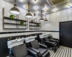Hare & Bone - Esher on Behance Spa Design, Salon Design, Salon Lighting, Retail Interior Design, Aveda Salon, Beauty Salon Interior, Brickwork, Hare, Architecture Design