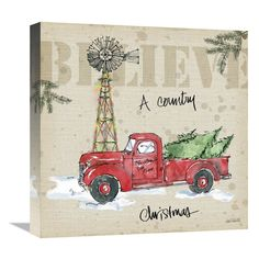 The winter holiday season gets a rural farmhouse flair with the Global Gallery Country Christmas IV Canvas Wall Art . This wall art depicts a red pickup. Christmas Truck, Christmas Art, Vintage Christmas, Christmas Wreaths, Christmas Ornaments, Christmas Ideas, Primitive Christmas, Christmas Signs, Christmas Canvas