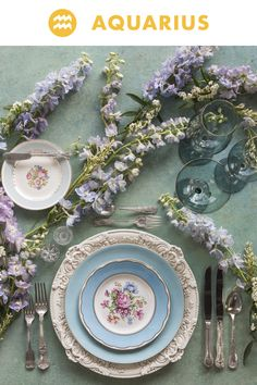 Birth Month Flowers and Place Settings by Casa de Perrin - Zodiac Flowers Wedding Arrangements, Table Arrangements, Floral Arrangements, Flower Arrangement, Birth Month Flowers, Table Setting Inspiration, Christmas Table Settings, Vintage Kitchenware, Delphinium