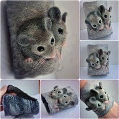 Купить Валяные браслеты-манжеты для примера - серый, мышь, мышка, браслет, манжета, валяный браслет