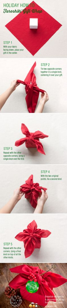 Fabric wrapping that ends up looking like a poinsettia, once you have knotted it up...gorgeous idea, and it's like a gift inside a gift....very cute