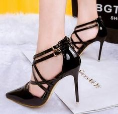 Patent Leather Strapped Stiletto Heels Pointed Toe #stilettoheelspointed