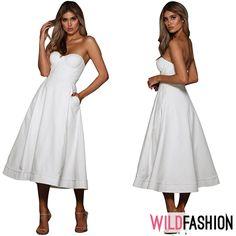 O rochie retro este ideală pentru cine nu se sfiește să fie atrăgătoare ca o zi caldă de toamnă, iar albul se poate accesoriza ușor cu cardiganul tău preferat... ☀️🍃🍂🍁 White Dress, Spandex, Retro, Dresses, Fashion, Vestidos, Moda, Fashion Styles, The Dress