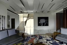 SDM Apartment is a contemporary apartment designed for a multi-generational family by Arquitectura en Movimiento Workshop, located in Mumbai, India. Apartment Interior, Apartment Design, Living Room Interior, Home Interior Design, Interior Architecture, Design Blog, Deco Design, Luxury Apartments, Luxury Homes