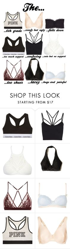 """""""Types of bras (I'm bored)"""" by jordynfoulksie ❤ liked on Polyvore featuring Calvin Klein Underwear, Sweaty Betty, WithChic, Hollister Co., Fleur of England, Heidi Klum, Victoria's Secret, Wacoal and Humble Chic"""