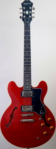 My cherry Epiphone Dot ES335 hollowbody Guitar at Ukulele Corner --- https://www.pinterest.com/lardyfatboy/
