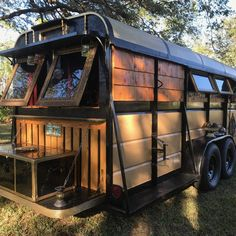 Gypsy Trailer / Tiny Home for sale on the Tiny House Marketplace. Former 6 horse gooseneck trailer Has been transformed into a cozy comfortable gypsy Small Campers For Sale, Camping Trailer For Sale, Tiny Houses For Sale, Trailers For Sale, Tiny House On Wheels, Camping Trailers, Best Pop Up Campers, Gypsy Trailer, Tyni House