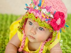 Crochet Hat Crochet Baby Hat with Flower  Newborn Photo Prop Hat READY TO SHIP. $21.00, via Etsy.