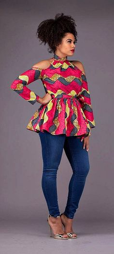 The Latest Ankara Tops With Jeans Style African Fashion Ankara, African Fashion Designers, Ghanaian Fashion, African Inspired Fashion, African Print Dresses, African Print Fashion, Africa Fashion, Nigerian Fashion, African Prints