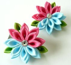 Kanzashi  Fabric Flowers. Set of 2 hair clips. Hot pink by JuLVa