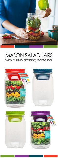 """30 Mason Jar Recipes: A Month Worth of """"Salad in a Jar"""" Recipes *Loving this mason jar with built-in dressing container."""
