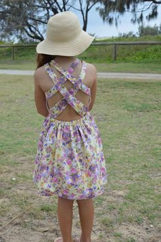 Summer dress sewing pattern for girls with strappy back from Bubby and Me Creations.