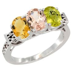 14K White Gold Natural Citrine, Morganite & Lemon Quartz Ring 3-Stone 7x5 mm Oval Diamond Accent, size 9.5, Women's
