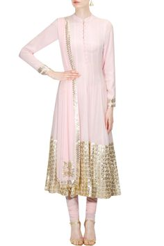 Pale pink/gold anarkali kurta set