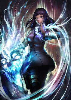 1girl bangs black_hair black_legwear cglas dark energy glowing hand_gesture holster hyuuga_hinata naruto solo standing veins