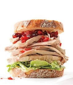 turkey sandwich with cranberry-pepper-jelly