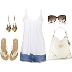 """""""jeans shorts and tank"""" by missyalexandra on Polyvore"""