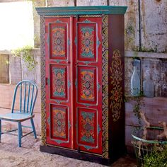 Samira Hand-Painted Cabinet-World Market Art Furniture, Funky Painted Furniture, Painted Wood, Bohemian Design, Bohemian Decor, Boho Room, Indian Home Decor, Painting Cabinets, World Market
