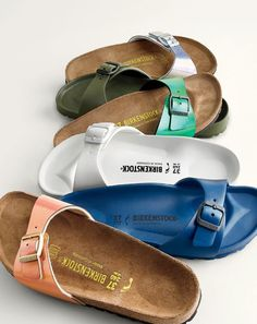 J.Crew women's Birkenstock Madrid sandals in metallic and solid colors.