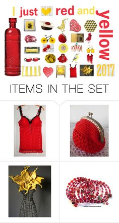 """I just love RED and YELLOW"" by belinda-evans ❤ liked on Polyvore featuring art"
