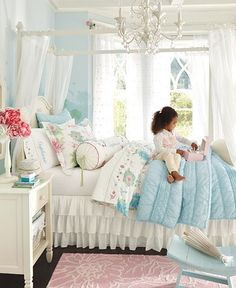 LOVE this rooms colors. Not your every day pink girls room. Very chic and cute!!