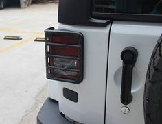 Allinoneparts Rear Euro Matte Tail Light Guards Covers For Rear Taillights 2007-2017 Jeep Wrangler JK Unlimited Accessories