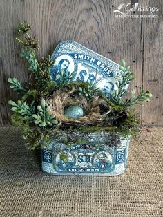 Small Smith Bros. Cough Drop Tin With Bird Nest | from Gatherings at Muncy Creek Barn Works