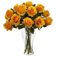 Nearly Natural 1328 Blooming Roses with Vase