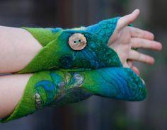 Felted Cuffs Felted gloves Arm warmers Felt by FeuerUndWasser, $49.00